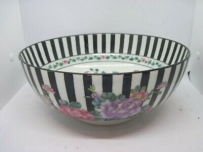 "Large 11"" vintage Oriental Chinese? Famille Rose punch Bowl hand painted"