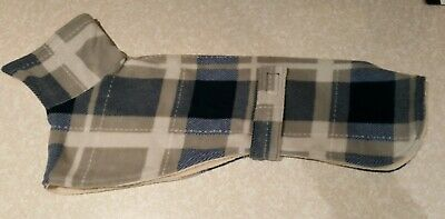 Whippet dog fleece kennel coat 23inch 58 cm blue check double layer