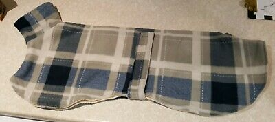 Greyhound dog fleece kennel coat 32inch 81 cm blue check double layer