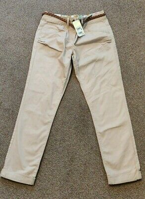 Bnwt Next Girls Stone Beige Tapered Trousers Chinos Age 15 Years