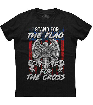 I Stand For The Flag Kneel For The Cross New Mens Shirt Americans Republican Tee