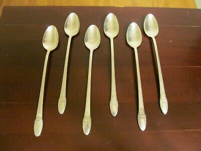 1847 Rogers Bros IS FIRST LOVE  6 Iced Tea Spoons Silverplate Flatware Lot K
