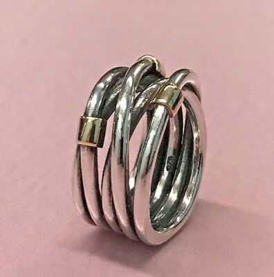 Pandora | 14K Gold Sterling Silver Rope Ring *New* 190383 50 51 Retired Rare Usa