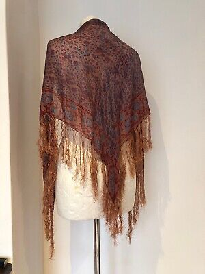 Vintage 1930s Silk Fringed Shawl Art Deco Fine Silk Light
