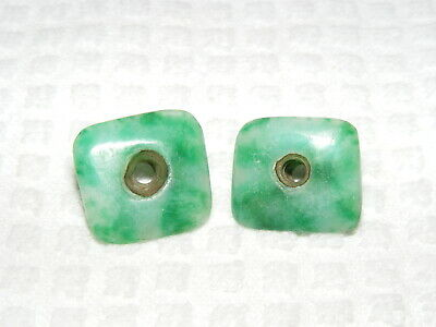 Rare Pre-Columbian Bright Green Small Carved Square Jade Child Ear Spools
