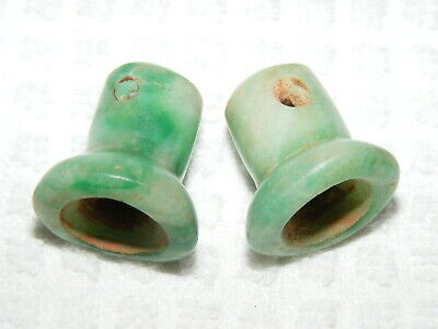 Rare Pre-Columbian Bright Green Large Carved Jade Adult Ear Spools
