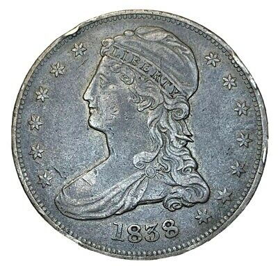 1838 50C Silver Capped Bust Half Dollar, Grade Xf