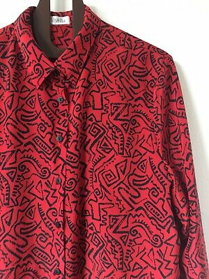 Vtg 80s Viyella skirt suit graphic squiggle pleated skirt M 16 Haring Jaeger