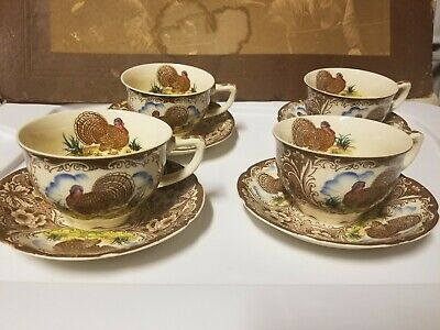 Vintage MARUTA WARE Turkey Blue Cloud (4) Cups  & (4) Saucers  - Made in Japan