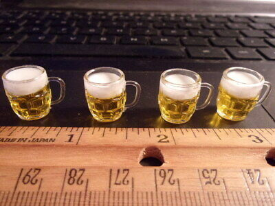 DIMPLE BEER MUGS DOLL HOUSE  MINIATURE 4 FILLED