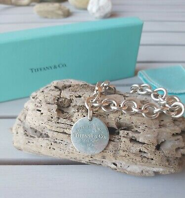 Authentic Tiffany & Co. RETURN TO TIFFANY Sterling Silver Round Tag Bracelet