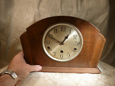 Vintage Art Deco 3 Train Pendulum Chiming Mantle Clock for Spares /Repairs 13""