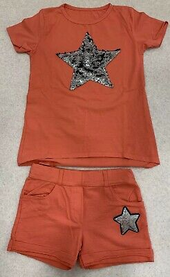 Girls Orange Tshirt And Shorts Set Italian Size 12 (approx Fit For Aged 8)