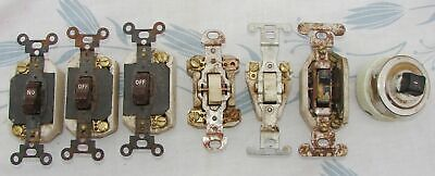Vintage Ceramic Electric Wall Switches Lot of 7 Antique Salvage AS-IS Untested
