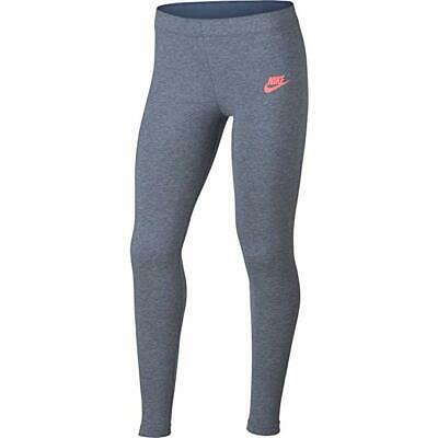 NEW NIKE Dri Fit Girl's Gray  Pink Full Length Legging JUST DO IT LARGE L 12 13