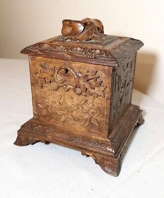 Antique ornate 1800's hand carved wooden German Black Forrest tea caddy box jar