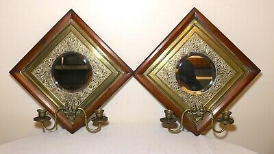 pair of 2 antique handmade English ornate wood brass wall sconce mirrors candle