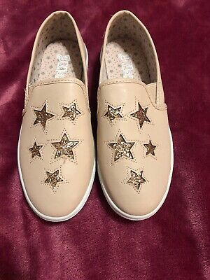 Girls Light Pink Star Sequin Loafers 3 1/2