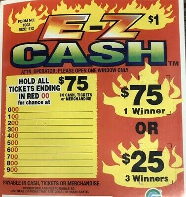 """6 Pack """"Ez Cash"""" Pull Tab Ticket $37 Profit 112 Count $75 Payout - 6 Pack"""