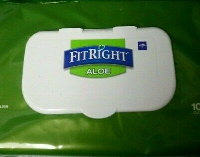 1x 100 Packs FitRight Aloe MEDLINE Personal Cleansing Cloths 100 FIT RIGHT Wipes