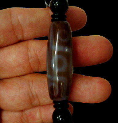 Magic Tibetan Old Agate 9 Eyes Half bead Totem dZi Bead Bracelet Bangle Amulet M