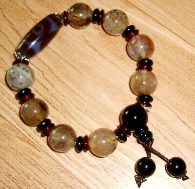Magic Tibetan Old Agate 3 Eyes Half bead Totem Dzi Bead Bracelet Lucky Amulet Q