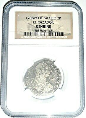 1783 MO FF 2 Reales El Cazador Shipwreck Coin,NGC Certified With Story Card
