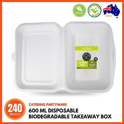 240 x 600ML DISPOSABLE BIODEGRADABLE TAKE AWAY CONTAINER Food Catering Cafe BULK