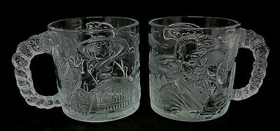 2 x Vintage Collectable BATMAN FOREVER McDonalds Promo TWO FACE Glass Mugs 1995