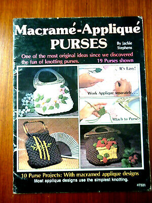 1970'S Macrame-Applique Purses Book By Jackie Stephens Simple Knotting Macrame