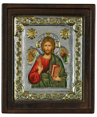 Silver 925 Greek Byzantine Orthodox Icon Jesus Christ Pantocrator 7.9X6.7 inch.