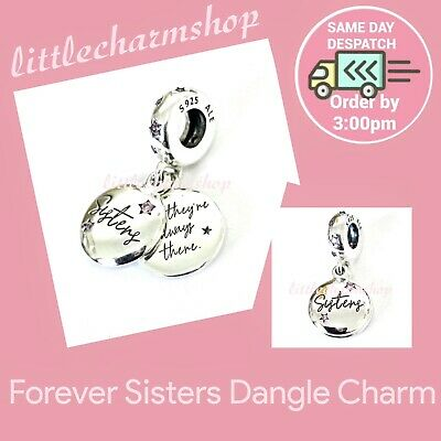 New Authentic Genuine PANDORA Silver Forever Sisters Hanging Charm - 798012FPC