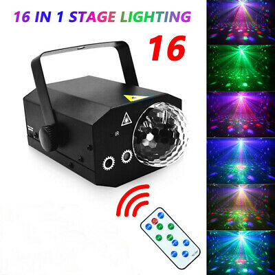 16 in 1 Sound Active Stage Light LED Laser Beam RGB Disco Party Lighting B3R0E