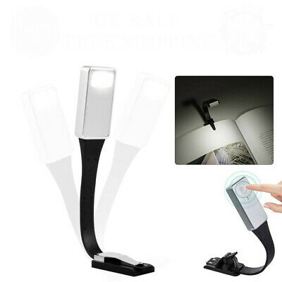 USB Rechargeable Clip On Book Light LED Flexible Reading For Reader Kindle S3F2I
