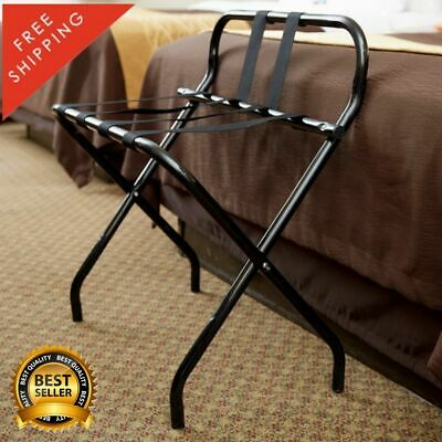 Black Folding Heavy Duty Metal Luggage Rack Guard Rubber Feet Bar Sturdy Durable