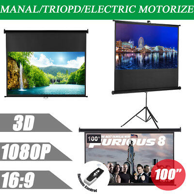 Portable Manual/Electric Motorised/Tripod 100 Inch Projector Movie Screen 16:9