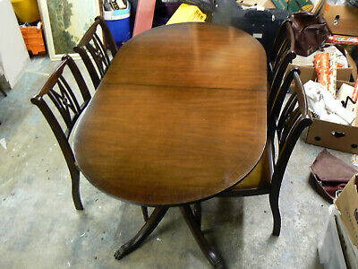 Antique Style Small Size Mahogany Dinning Table & 4 Chairs Carlton Collection