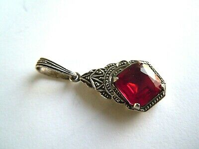 imper. RUSSIAN 84 Silver Pendant with RUBY stone КФ hallmark Faberge design
