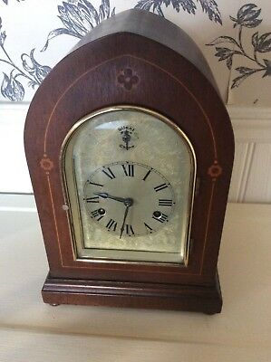 Antique  Mahogany Inlaid Bracket  Mantle  Clock  German H.a.c. Movement