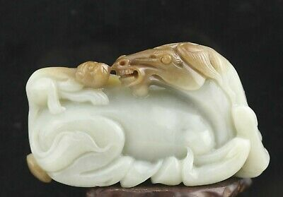 Chinese natural hetian jade hand-carved statue horse and monkey pendant 3.4 inch