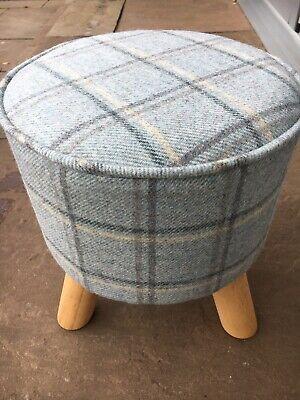 TARTAN FOOTSTOOL - with Abraham Moon 'DUISDALE' - Colour- 'Glacier' 100% wool
