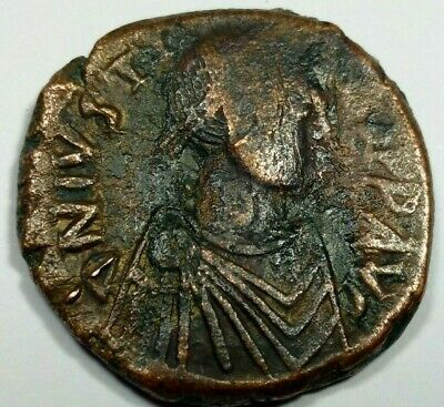 LARGE BRONZE 17.99g * 3cm BYZANTINE JUSTINIAN COIN /413