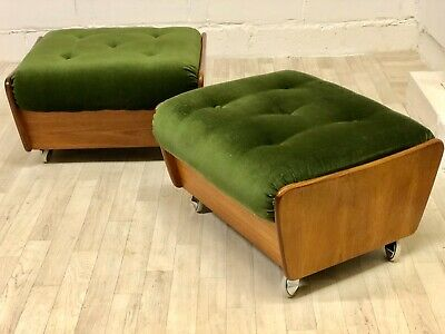 Mid Century G Plan Footstool Saddle Stool Vintage Pouffe Retro Teak (delivery av