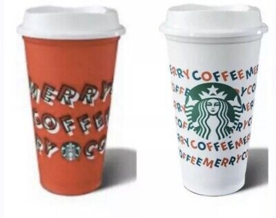 Starbucks Holiday Christmas 2019 Red and White Reusable Cup w/ Lid- 2cups