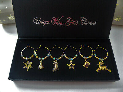 6 Gold Tone and Gold Stardust Christmas Wine Glass Charms in Gift Box