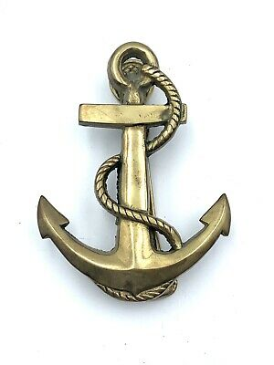 Vintage Solid Brass Anchor Door Knocker & Strike Vintage Nautical Decor