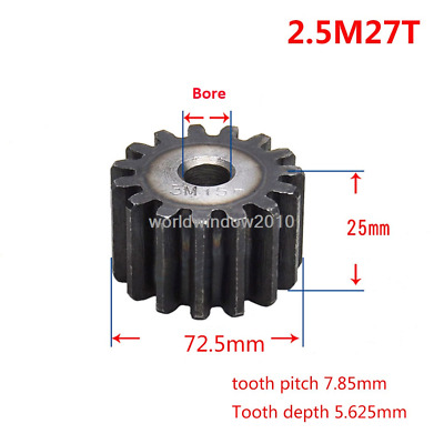2.5Mod 27T Spur Gears #45 Steel Pinion Gear Tooth Diameter 72.5MM Thickness 25MM