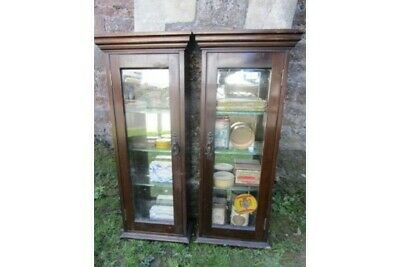 Antique Pair of Small Edwardian Walnut Wall Mounted Display Cabinets