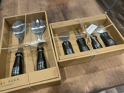 Rae Dunn BLACK TOSS  SERVE with SPREAD SLICE SLIVER SHAVE Cheese Serving Set
