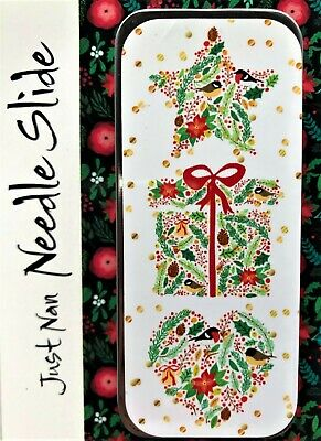 """Just Nan Needle Slide:  """"Birds, Berries & Blooms"""" - Needle & Pin Tin with Magnet"""